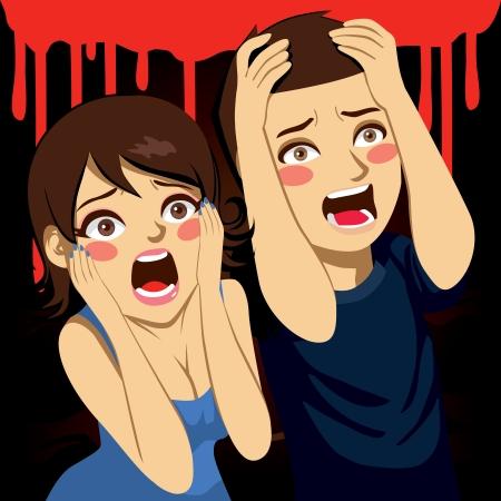 ojos caricatura: Una pareja asustada gritando aterrorizada en una fiesta la noche de Halloween