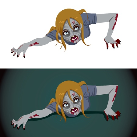 Scary zombie woman crawling isolated on white background and over a dark background