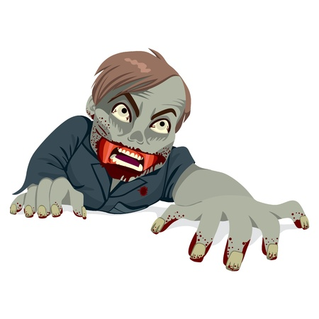 agony: Illustration of a man zombie with rotten face crawling isolated on white background