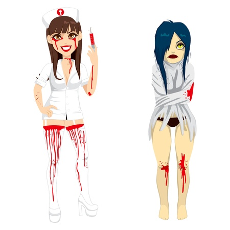 Two girls in Mad nurse and demented insane woman costume for Halloween holiday party celebration