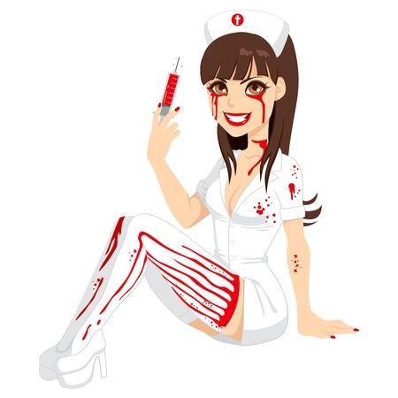 traje: Menina atrativa na sangrenta traje da enfermeira Halloween segurando uma seringa com líquido vermelho