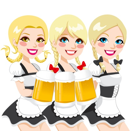 Three beautiful blonde girls holding beer mugs for Oktoberfest party toast in sexy and traditional dirndl waitress dress
