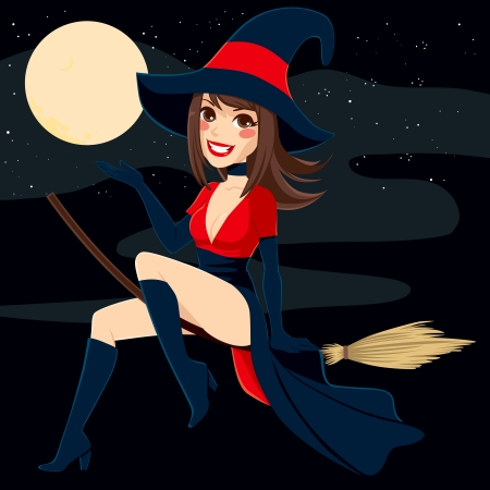 pinup: Sexy brunette witch flying on a broom over a full moon night