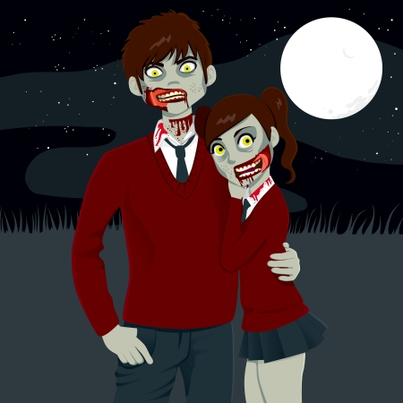 Zombie high school couple hugging together on a dark Halloween full moon night Vector