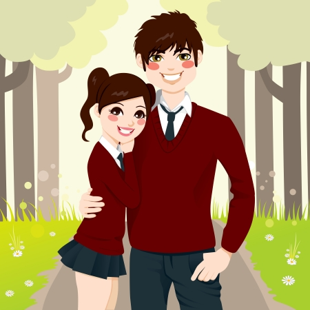 Young high school student couple hugging romantically with love at the park Vector