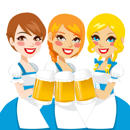 Three beautiful waitress holding beer mugs for Oktoberfest party toast dressed in a blue traditional dirndl  Stock Vector - 22527616