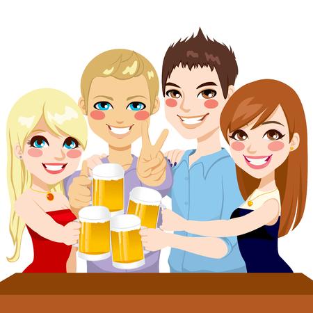 personas celebrando: Dos j�venes amigos de la pareja haciendo un brindis con cerveza en una celebraci�n de la fiesta Vectores