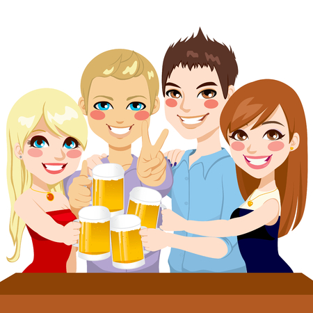 laughing: Two young couple friends making a toast with beer on a party celebration