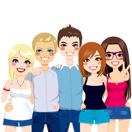 friend hug: Illustration of five young friends together happy shoulder to shoulder