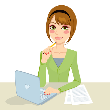Beautiful pensive brunette office secretary woman typing on her computer and holding a pencil on her hand Illustration