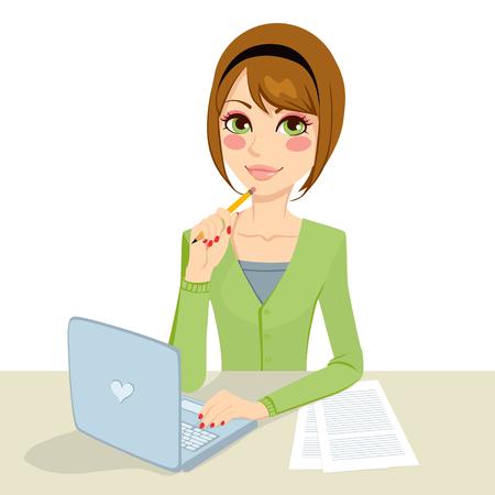 oficina: Morena pensativa hermosa mujer secretaria de la oficina escribiendo en su ordenador y sosteniendo un lápiz en la mano