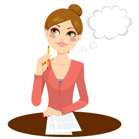 Beautiful secretary thinking concept holding a pencil and writing documents Ilustracja