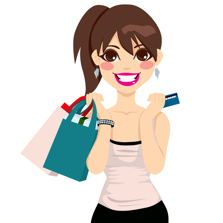 woman credit card: Beautiful teenager girl holding shopping bags and credit card