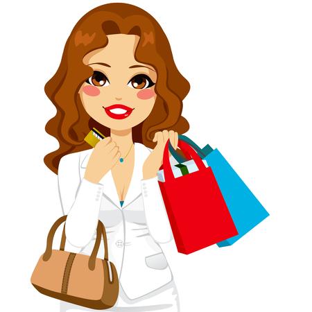 Hermosa mujer de negocios la celebración de bolsas de la compra y la tarjeta de crédito y el bolso de moda de lujo