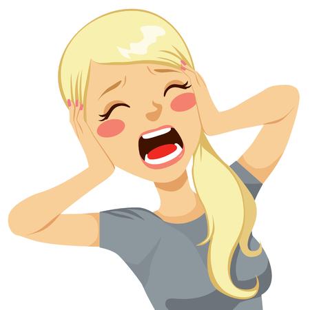 Geschokt blonde vrouw schreeuwen wanhopig met haar handen op het hoofd en de mond wijd open
