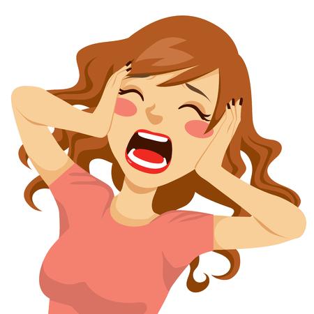 faccia disperata: Desperate selvaggio capelli donna bruna scioccata urlando con le mani sulla testa e la bocca spalancata
