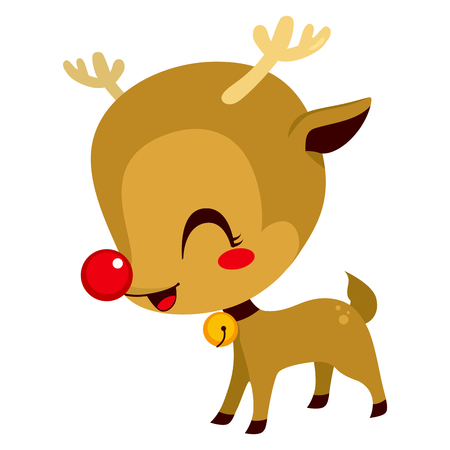 Illustration of cute little Rudolph the red nosed reindeer cartoon character mascot