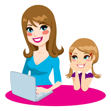 teach: Mother teaching daughter how to use a computer browsing son the internet using a laptop Illustration