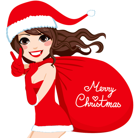 Beautiful brunette Santa Claus woman carrying a huge red bag with the text Merry Christmas
