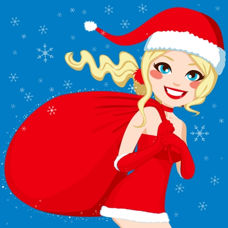 Beautiful blonde santa claus girl delivering some presents with her big sack Vector