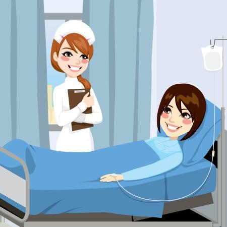 patient: Verpleegkundige staande op de zijkant van een bed in een ziekenhuiskamer bezoek aan een zieke vrouw patiënt die intraveneuze therapie behandeling Stock Illustratie