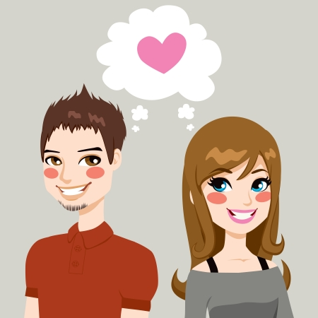 love at first sight: Concept illustration of a man and a woman side by side make eye contact and falling in love together