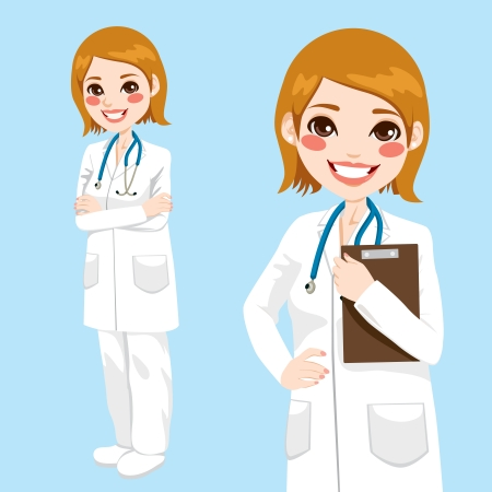 Beautiful friendly and confident woman doctor smiling holding clipboard and with arms crossed Vector