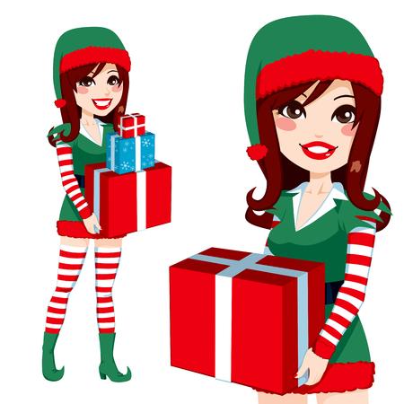 santa helper: Beautiful Santa Claus Elf helper woman carrying Christmas presents