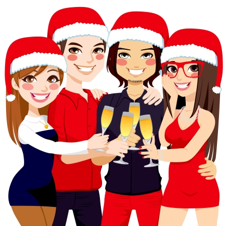 Friends making a toast celebrating Christmas party with champagne Vector