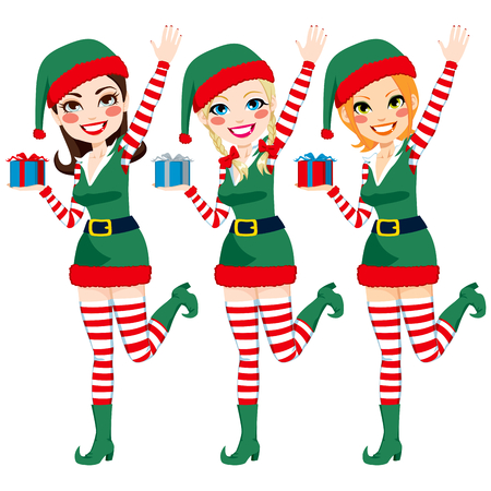 elf hat: Three beautiful Santa Claus Elf helpers holding Christmas presents and waving hand Illustration