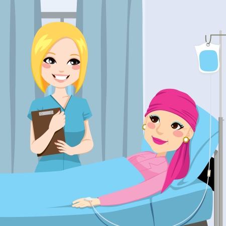 Verpleegkundige een bezoek aan een senior oude vrouw patiënt liggend op het ziekenhuis bed die intraveneuze chemotherapie behandeling voor kanker Stock Illustratie