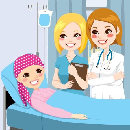 girl lying down: M�dico y la enfermera de la mujer visitan una ni�a acostada en la cama de hospital recibiendo tratamiento de quimioterapia por v�a intravenosa para el c�ncer