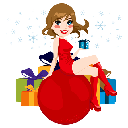 Beautiful woman sitting on a big red Christmas bauble holding a little present Stock Vector - 22966727