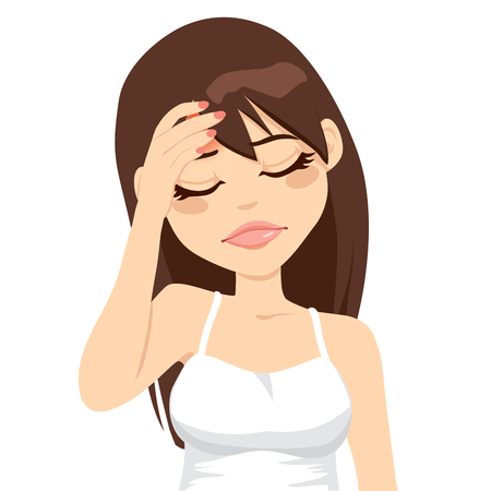 갈색 머리: 고통스러운 두통을 앓고 그녀의 머리를 만지고 갈색 머리 소녀