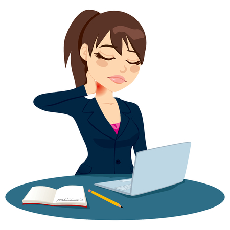 computer health: Brunette office worker suffering neck pain while working on her laptop computer and taking notes Illustration