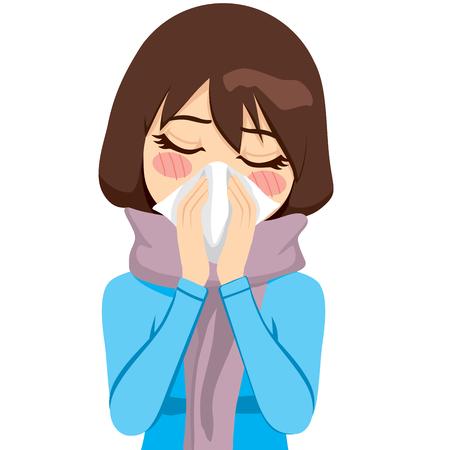 Mooie vrouw die een warme sjaal draagt die aan griep en loopneus lijdt die haar neus met een zakdoek blaast