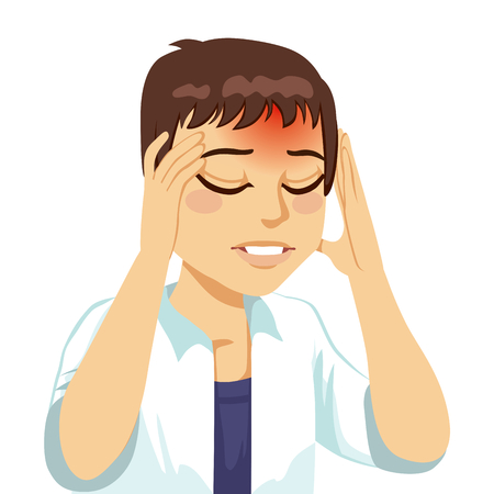 Bruine haren man aanraken van haar hoofd lijden een verschrikkelijke en pijnlijke hoofdpijn