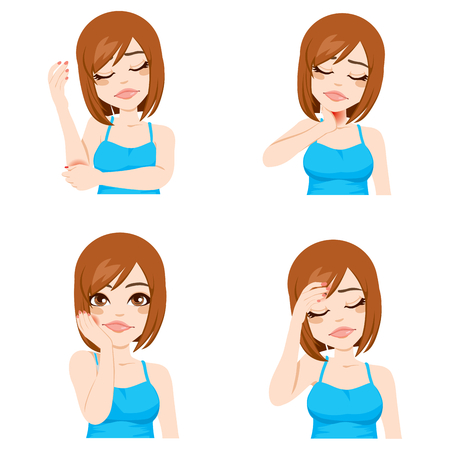 Illustration of a girl suffering pain in different parts of the body Vector