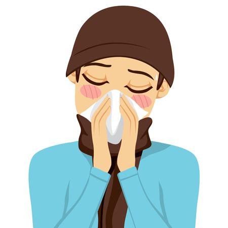 Junger Mann seine Nase weht mit einem weißen Taschentuch