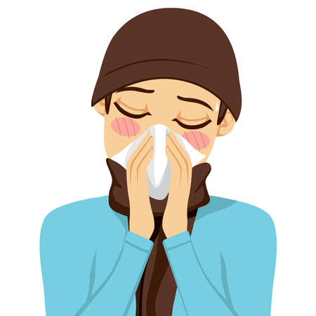 cold virus: Young man blowing his nose with a white handkerchief Illustration