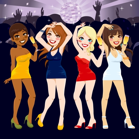 Four beautiful women dancing and drinking at the disco in fashionable sexy mini dresses having fun together Иллюстрация