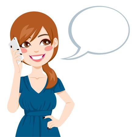 갈색 머리: 아름 다운 갈색 머리 연설 거품 그녀의 스마트 폰을 사용하여 이야기 일러스트