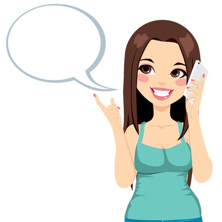 ragazza al telefono: Giovane ragazza con una conversazione usando il suo smartphone con una bolla di discorso