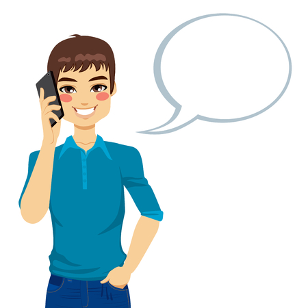 Young man speaking using his mobile phone with a speech bubble