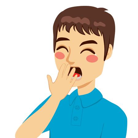 Hombre joven que cubre la boca bostezando a mano con los ojos cerrados