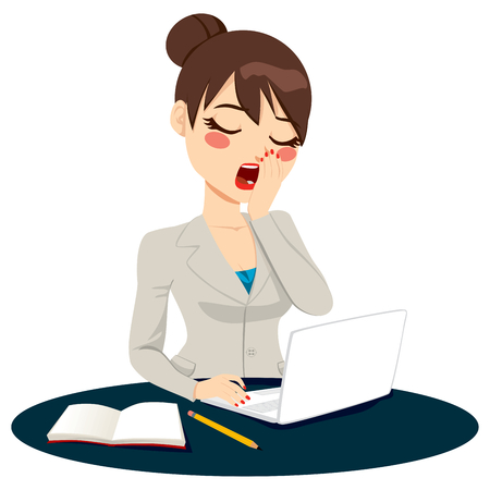Exhausted young businesswoman yawning at work while using laptop Vector