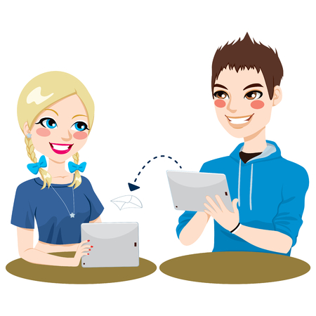 Teenage boy and girl friends communicating using tablets sending messages and documents Vector