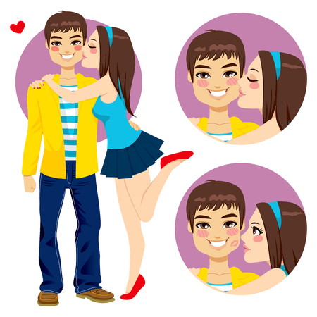 Couple of young lovers, cute girlfriend hugging and kissing happy smiling boyfriend