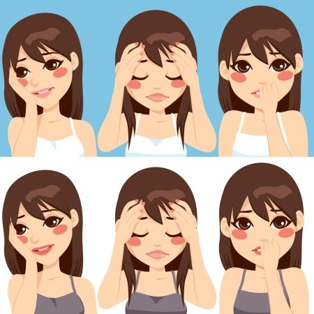 귀여운 갈색 머리 여자는 서로 다른 걱정 슬픈 얼굴 표정을 만드는 포즈