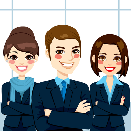 Group of positive confident business man and women team standing with arms crossed Vector